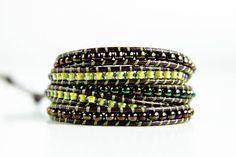 Bohemian 5x Wrap Beaded Bracelet: Brown Leather w/ Green and Brown Glass Beads; Boho Bracelet; Bohemian Bracelet; Boho Jewelry by NUBE Handmade Jewelry on Etsy