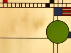 Frank Lloyd Wright's Meyer May House in Grand Rapids, MI.  Detail of leaded stained glass window.