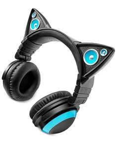 Choose the way you want to listen with these Cat Ear headphones from Brookstone. Comfortable cups let you keep the experience to yourself, while the colorful ears allow you to share your music with fr Cat Headphones, Headphones Online, Christmas Gifts For Teenagers, Gifts For Teens, Notebooks, Purple Cat, Blue Cats, Tablet, Phone Accessories
