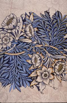 William Morris, Tulip and Willow textile drawing 1873