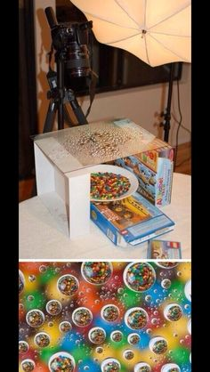Use a wet piece of glass and a bowl or cereal for an amazing effect