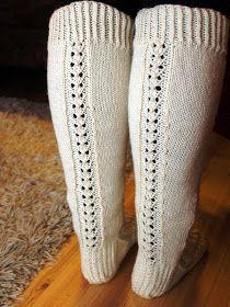 KARDEMUMMAN TALO: Riikan pitkät pitsisukat Lace Socks, Thick Socks, Chrochet, Knitting Socks, Leg Warmers, Knitting Patterns, Knitting Ideas, Needlework, Slippers