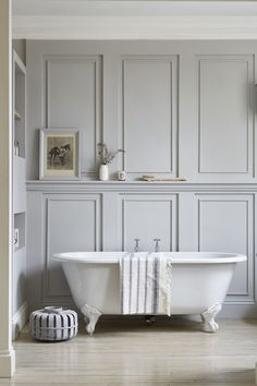Wall Paneling Home Depot Industrial Chic Style With Beautiful Architectural Details White Painted Exposed Brick And Wood Panelling Waterproof - Wood Wall Planks Bathroom Paneling Wooden Master Bathtub Ideas, Master Bathroom, Bathroom Wall, School Bathroom, Bathroom Canvas, Office Bathroom, Shower Bathroom, Bathroom Doors, Glass Shower
