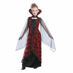 Totally Ghoul Winged Vampiress Girl's Halloween Costume Black&Red Small for sale online Gothic Vampire Costume, Vampire Costumes, Halloween Wings, Halloween Costumes For Kids, Halloween 2017, Hippie Costume, 50s Costume, Karen, 70s Fashion