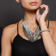 """Madeleine Necklace This statement necklace is stunning. Clear crystals hematite plating. 17"""" long, 3"""" extender, lobster clasp. New with gift pouch. Chelsea Row Jewelry Necklaces"""