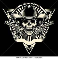 Cowboy Skull With Revolver. Fully editable vector illustration of cowboy skull w , Revolver Tattoo, Black Background Images, Vintage Biker, Image Clipart, Cowboy Art, Stencil Patterns, Skull And Crossbones, Popular Tattoos, Tattoos With Meaning