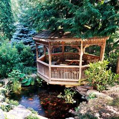 Gazebo at the Water's Edge - A relaxing gazebo is enhanced by the soothing sounds of moving water. Positioned on the edge of a water garden, the gazebo offers a closeup view of wildlife, including toads, frogs, and beautiful swimming koi.