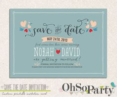 LOVERS HEARTS Custom Save the Date Announcement Card