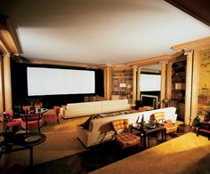 The screening room of Hollywood mogul Jack L. Warner's Beverly Hills estate - designed by Billy Haines.