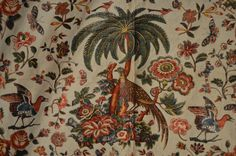 Antique Chintz Fabric with Birds