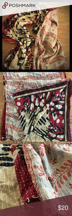 Handmade mixed material tribal scarf Again, another purchase in Boston at a lovely store selling handmade imported goods. Love the mixed prints and colors, but never wore this once. Nice double layer so it is a bit thicker than most woven scarves. Someone buy this and show off it's beauty! Accessories Scarves & Wraps