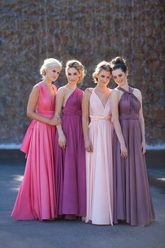 long convertible bridesmaids dressed is complimentary shades of pink and purple