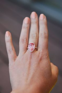 Padparadscha sapphire ring by Eidel Precious  This ring does not need introduction :)  It features a 10.3ct oval Padparadscha sapphire. The stone