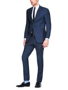 Navy Calvin Klein Wool Slim Fit Suit.