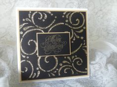 Stencil and Imagination glitter glue. Embossed greeting for an elegant Christmas card.