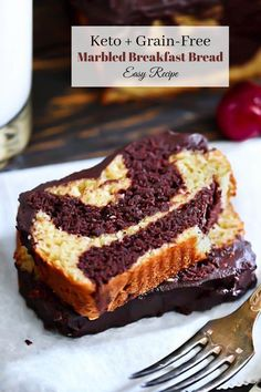 Scrumptious Low-Carb Marbled Chocolate + Vanilla Bread with glaze. #grainfree #lowcarb #keto #chocolate #bread #marbled #vanilla #glutenfree #dairyfree #sugarfree #breakfast #tea Keto Bread, Bread Baking, Baking Soda, Low Carb Recipes, Cooking Recipes, Ketogenic Recipes, Diabetic Recipes, Bread Recipes, Salted Butter