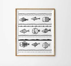 Fishes print 5 x 7 in 8 x 10 in Nursery art by LittleUniverseShop
