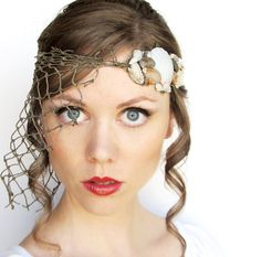 Caught at Sea Headdress with Shells and Fishnet by BeasleysWonders, $48.00