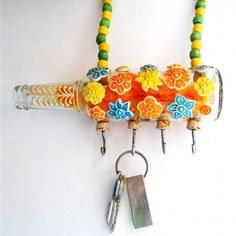 Bunch Of Flowers Recycled Bottle Table Key Hanger