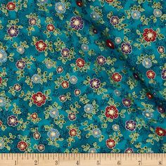Kaufman La Scala 7 Metallic Small Flower Jewel from @fabricdotcom  From Robert Kaufman, this cotton print fabric features ornate floral designs in deep hues for an elegant feel. Perfect for quilting, apparel and home decor accents. Colors include white, metallic gold, purple, lavender, pink, red, charcoal and shades of blue and green.