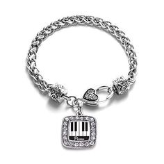 Piano Player Classic Silver Plated Square Crystal Charm Bracelet