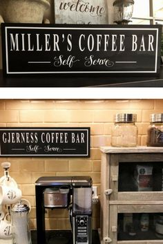 Coffee Sign, Coffee Bar Sign, Personalized Kitchen Sign, Christmas Gifts, Coffee Bar Ideas, Coffee Bar Shelf, Coffee Bar Decor-Gifts for her #affiliate