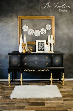 How to Make Your Black Furniture Glam With Gold Leaf! is part of Repurposed furniture Projects - Try adding accents of of gold leaf for a Hollywood Glam look Black furniture doesn't have to be boring with the right accents Redo Furniture, Diy Furniture, Painted Furniture, Painted Furniture Colors, Furniture Making, Cool Furniture, Shabby Chic Furniture, Furniture Finishes, Black Furniture