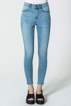 Cheap Monday Image 1 of High Spray Stone Bleach Jeans in Stone Bleach