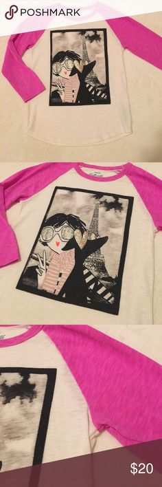 "Crew Cuts Collectible ""Paris"" tee Crew Cuts 3/4 sleeve Collectible Tee w/ ""Paris"" glittered selfie.  60/40 cotton/poly.  Excellent condition. J. Crew Shirts & Tops Tees - Long Sleeve"