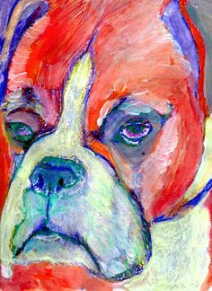 Boxer Dog Art - Limited Edition Canvas Print- Signed Print from Original boxer dog Painting-holiday gift idea by… #dogs #etsy #art