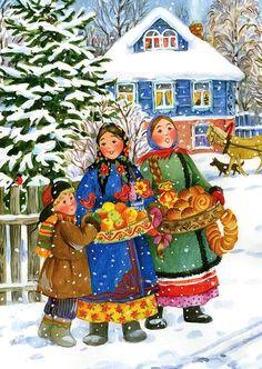 Ukrainian Christmas, Cosy Christmas, Christmas Scenes, Christmas Crafts, Kahlo Paintings, School Murals, Folk Clothing, Family Illustration, Ukrainian Art