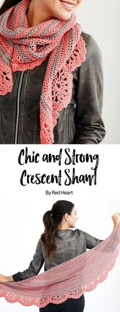 Chic And Strong Crescent Shawl By Marly Bird - Free Crochet Pattern - (redheart)