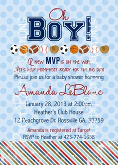 SPORTS BABY SHOWER or birthday invitation by PrettyPartyCreations