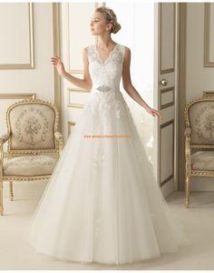 Schöne V-Ausschnitt Princess-stil Hochzeitskleider mit Band 164 ESTER | luna novias 2014