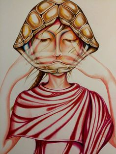 """Pratyahara - The fifth limb of Ashtanga Yoga. Withdrawal of the senses, or more literally, ' control of ahara'. Often likened to a tortoise retracting into it's shell. """" Controlling the sensory impressions frees the mind to move within"""" as David Frawley discusses.  - Illustration by Megan Campbell Illustrator"""