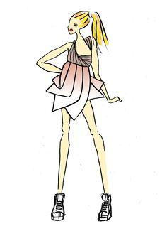 Croquis réalisé par Milouch GOTTE. robe inspirée d'un thème Origami. Des basckets pour donner un look plus streetwear