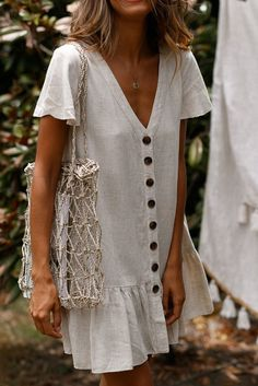 SingleBreasted Deep VNeck Cotton And Linen Dress is part of Summer outfits - Daily Life Style Casual Gender Women Product no 20190225 Please Note All dimensions are measured manually with a deviation of 1 to Linen Dresses, Casual Dresses, Maxi Dresses, Woman Dresses, Casual Outfits, Linen Summer Dresses, Elegant Dresses, Printed Dresses, Beige Dresses