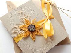 Sunflower and wheat handmade wedding invitation/Thanksgiving invitation/Kraft invitation/Country invitation/Yellow rustic wedding invitation
