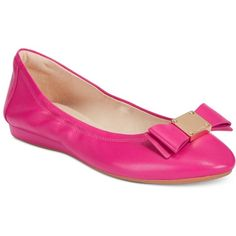 Cole Haan Tali Bow Ballet Flats ($170) ❤ liked on Polyvore featuring shoes, flats, fuschia pink, ballerina pumps, ballet pumps, bow flats, fuschia pink shoes and fuschia shoes