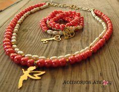 Collar y pusera de perlas para #niñas #accesorios