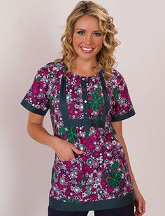 """""""Cloverfield"""" scrub top, by Koi.  Perfect for St. Patrick's Day!"""