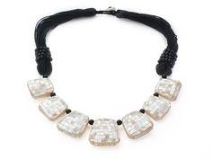 Trapezium Shape White Mosaics Shell Necklace with Black Thread