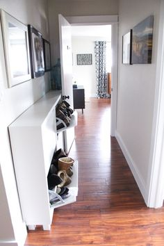 Use a wall shoe storage unit to keep shoes neat and organised in the hallway or entryway, making them easy to grab when you're rushing out the door
