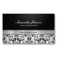 Professional Elegant Black And White Damask Business Card