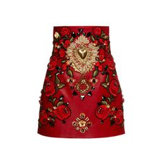 Dolce & Gabbana Rosso Embellished Leather Mini Skirt (361.500 UYU) ❤ liked on Polyvore featuring skirts, mini skirts, bottoms, dolce & gabbana, red, high-waisted skirts, short skirts, short leather skirt, red leather skirt and red skirt