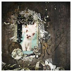 My Enchanting StoryBook by Mo Credits materials . Studio Manu ©Photo 'Hallo Kitty' by Birma Carmetina. Forgotten Treasures, Vintage Scrapbook, Photo S, Digital Scrapbooking, Kitty, Gallery, Cute, Layout, Passion