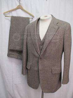 Vintage 3 Piece Wool Herringbone Mens Suit Size 43 R Check out more at FashionFilmsNYC.com
