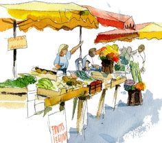 marchand légumes dessin - Recherche Google