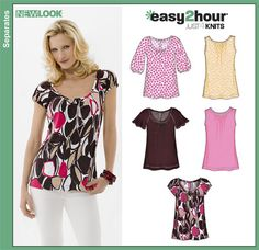 Sewing Blusas Womens Easy Two-Hour Knit Tops Sewing Pattern 6807 New Look Sewing Blouses, Sewing Shirts, Blouse Patterns, Clothing Patterns, Sewing Patterns, New Look Patterns, Easy Patterns, Make Your Own Clothes, Dress Making Patterns