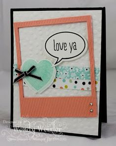 Wickedly Wonderful Creations: Freakin' Occasion-ally GREAT! Just Sayin', Peachy Keen stamp sets, Sweet Sorbet dsp (Sale-a-bration paper), On Film Framelits Dies, Word Bubble Framelits Dies, Decorative Dots EB Folder (sale-a-bration)